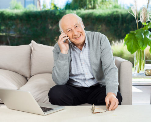 senior on phone